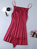 Недорогие -Жен. Открытая спина Костюм Ночное белье Однотонный Красный Один размер