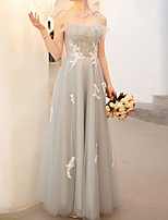 cheap -A-Line Floral Grey Wedding Guest Prom Dress Spaghetti Strap Sleeveless Floor Length Polyester with Embroidery 2020