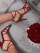 cheap -Women's Sandals Stiletto Heel Open Toe PU Summer Almond / Yellow / Red
