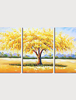 cheap -Hand Painted Canvas Oilpainting Abstract Landscape set of 3 by Knife Home Decoration with Frame Painting Ready to Hang
