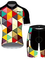 Недорогие -21Grams Муж. С короткими рукавами Велокофты и велошорты Черный / желтый Клетки геометрический Велоспорт Наборы одежды Устойчивость к УФ Дышащий Быстровысыхающий Впитывает пот и влагу Виды спорта