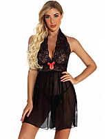 cheap -Women's Lace / Backless / Bow Suits Nightwear Solid Colored Red Black S M L