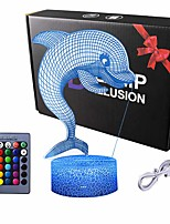 cheap -3D Illusion Dolphin Delphinus delphis Night Lamp 16 Color Change Touch White Crack Base Power by AA Batteries with Remote Control