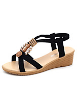 cheap -Women's Sandals Wedge Sandals 2020 Spring & Summer Wedge Heel Open Toe Vintage Minimalism Daily Synthetics Walking Shoes Black / Beige