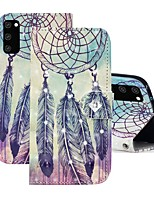 cheap -Case For Samsung Galaxy A91 / M80S / Galaxy A81 / M60S / S20 Plus Wallet / Rhinestone / with Stand Full Body Cases Feathers PU Leather For Samsung Galaxy S20 Ultra/A01/A11/A21/A41/A70E