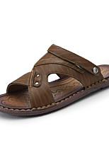 cheap -Men's Summer Casual Daily Sandals Walking Shoes PU Breathable Khaki / Brown