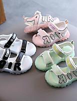 cheap -Girls' Comfort PU Sandals Toddler(9m-4ys) / Little Kids(4-7ys) Walking Shoes Black / Pink / Green Summer / Fall / Slogan