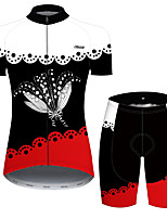 cheap -21Grams Women's Short Sleeve Cycling Jersey with Shorts Black / Red Floral Botanical Bike Breathable Quick Dry Sports Patterned Mountain Bike MTB Road Bike Cycling Clothing Apparel / Micro-elastic