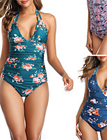 cheap -Women's One Piece Swimsuit Floral Padded Swimwear Bodysuit Swimwear Blushing Pink Green Blue Breathable Quick Dry Comfortable Sleeveless - Swimming Surfing Water Sports Summer / Stretchy