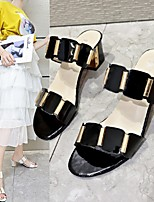 cheap -Women's Sandals / Slippers & Flip-Flops Summer Cuban Heel Open Toe Daily PU White / Black