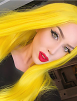 cheap -Synthetic Lace Front Wig Straight Gaga Middle Part Lace Front Wig Long Yellow Synthetic Hair 22-26 inch Women's Heat Resistant Women Hot Sale Yellow / Glueless