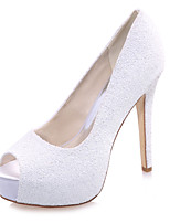 cheap -Women's Wedding Shoes Spring / Summer Stiletto Heel Peep Toe Minimalism Wedding Party & Evening Sequin Solid Colored Synthetics White