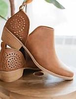 cheap -Women's Boots Summer Cuban Heel Open Toe Daily PU Booties / Ankle Boots Khaki / Beige / Gray