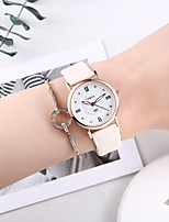 cheap -Women's Quartz Watches Minimalist New Arrival Pink PU Leather Chinese Quartz Blushing Pink Chronograph Cute Creative 2 Piece Analog One Year Battery Life