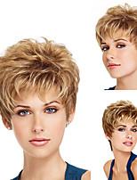 Недорогие -Парики из искусственных волос Кудрявый Матовое стекло Стрижка каскад Парик Короткие Темно-коричневый / Золотой блондин Искусственные волосы 6 дюймовый Жен. Модный дизайн вьющийся пушистый Блондинка