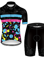 cheap -21Grams Men's Short Sleeve Cycling Jersey with Shorts Polyester Black / Blue Tie Dye Patchwork Bike Clothing Suit Breathable Quick Dry Ultraviolet Resistant Reflective Strips Sweat-wicking Sports Tie