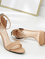 cheap -Women's Sandals Summer Pumps Round Toe Daily Color Block Suede Almond / Black
