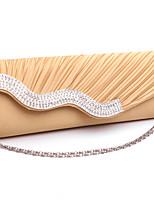Недорогие -Жен. Кристаллы / Цепочки Полиэстер Вечерняя сумочка 2020 Сплошной цвет Белый / Черный / Миндальный