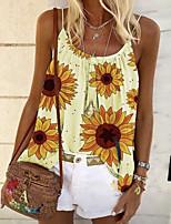 cheap -Women's Plus Size Geometric Sun Flower T-shirt Daily Holiday Strap White / Blue / Purple / Yellow / Blushing Pink / Green