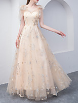 cheap -A-Line Glittering Empire Wedding Guest Formal Evening Dress V Neck Sleeveless Floor Length Tulle with Embroidery 2020
