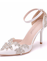 cheap -Women's Sandals White Sandals Summer Stiletto Heel Pointed Toe Daily PU White / Red
