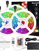 cheap -ZDM 50ft 3*5M App Intelligent Control Bluetooth Music Sync Flexible Led Strip Lights 5050 RGB SMD 450 LEDs IR 24 Key Bluetooth Controller with Installation Package 12V 6A Adapter Kit