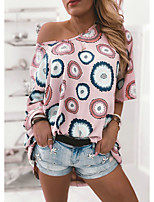 cheap -Women's Geometric Loose Blouse Basic Daily Blushing Pink