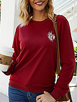 cheap -Women's Solid Colored Print T-shirt Daily Wine