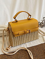 cheap -Women's Zipper Faux Leather / Straw Top Handle Bag Straw Bag Color Block Black / Yellow / Brown
