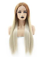 cheap -Synthetic Lace Front Wig Straight Gaga Middle Part Lace Front Wig Long Ombre Blonde Synthetic Hair 22-26 inch Women's Heat Resistant Women Hot Sale Blonde Green / Glueless