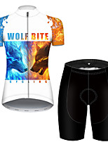 cheap -21Grams Women's Short Sleeve Cycling Jersey with Shorts Polyester Black / White Galaxy Animal Wolf Bike Clothing Suit Breathable Quick Dry Ultraviolet Resistant Reflective Strips Sweat-wicking Sports