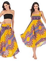 cheap -Women's Maxi Skirt Gypsy Dress Asymetric Hem Bohemian Black Yellow Red Royal Blue Yoga Pilates Fitness Dress Sport Activewear Comfy Breathable Quick Dry