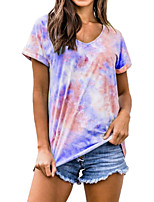 cheap -Women's Plus Size Color Block Tie Dye Print T-shirt Basic Street chic Daily Going out V Neck Wine / Blue / Purple / Orange / Green / Light Blue