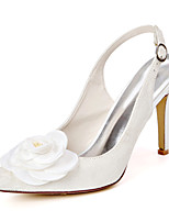 cheap -Women's Wedding Shoes Spring / Summer Stiletto Heel Pointed Toe Sweet Wedding Party & Evening Satin Flower Floral Lace White / Ivory