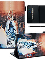 cheap -A Case With A Pen Samsung Galaxy Samsung Tab T585/590/515/725/580/595/510/720 with Stand / Flip / Ultra-thin Back Cover Cat & Tiger PU Leather