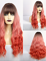 cheap -Synthetic Wig Matte Loose Curl Middle Part Neat Bang Wig Long Dark Red Synthetic Hair 26 inch Women's Sexy Lady curling Red