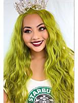 Недорогие -Синтетические кружевные передние парики Кудрявый Боковая часть Лента спереди Парик Длинные Зеленый Искусственные волосы 18-26 дюймовый Жен. Косплей Мягкость Для вечеринок Зеленый