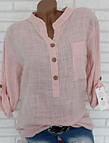 cheap -Women's Solid Colored Loose Blouse Daily V Neck White / Blue / Purple / Red / Blushing Pink / Khaki