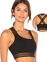 cheap -Women's Sports Bra Medium Support Patchwork Removable Pad Solid Color Black Mesh Elastane Yoga Running Fitness Bra Top Sport Activewear Breathable Comfort Quick Dry Freedom Stretchy