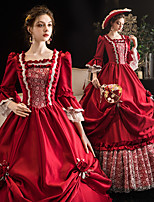 cheap -Maria Antonietta Retro Vintage Rococo Medieval Dress Women's Costume Burgundy Vintage Cosplay Event / Party Prom 3/4-Length Sleeve Floor Length Ball Gown