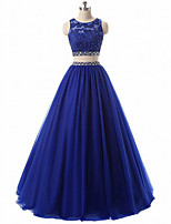 cheap -Two Piece Sparkle Blue Engagement Prom Dress Jewel Neck Sleeveless Floor Length Chiffon with Pleats Crystals 2020