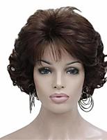 Недорогие -Парики из искусственных волос Кудрявый Матовое стекло Стрижка каскад Парик Короткие Сепия Искусственные волосы 6 дюймовый Жен. Модный дизайн вьющийся пушистый Коричневый