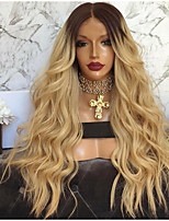 cheap -Synthetic Wig Curly Middle Part Wig Very Long Blonde Synthetic Hair 26 inch Women's Ombre Hair curling Fluffy Blonde