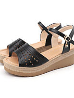cheap -Women's Sandals Wedge Sandals Summer Wedge Heel Open Toe Casual Daily Outdoor PU White / Black