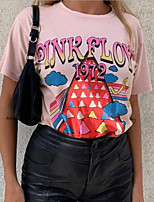 cheap -Women's Geometric T-shirt Daily Weekend Blushing Pink