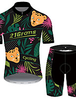 cheap -Men's Short Sleeve Cycling Jersey with Shorts Black / Green Floral Botanical Bike UV Resistant Quick Dry Sports Patterned Mountain Bike MTB Road Bike Cycling Clothing Apparel / Stretchy