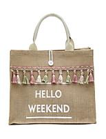 cheap -Women's Canvas Top Handle Bag Canvas Bag Letter White / Black / Fall & Winter