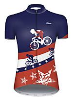 Недорогие -21Grams Жен. С короткими рукавами Велокофты Полиэстер Красный + синий Американский / США Флаги Велоспорт Джерси Верхняя часть Горные велосипеды Шоссейные велосипеды / Слабоэластичная / Дышащий
