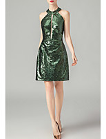 cheap -Sheath / Column Beautiful Back Green Party Wear Cocktail Party Dress Halter Neck Sleeveless Short / Mini Nylon with Sequin 2020