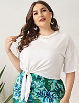 cheap -Women's Plus Size Solid Colored Beaded Loose T-shirt Basic Daily Work White